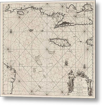 Sea Chart Of The South Coast Of Cuba And Jamaica Metal Print by Jan Luyken And Claes Jansz Voogt And Johannes Van Keulen (i)