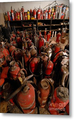Sea Of Fire Extinguishers Metal Print by Amy Cicconi