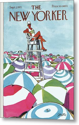 Sea Of Umbrellas Metal Print by Charles Saxon