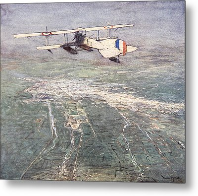 Sea-plane Flying Over Damascus Metal Print