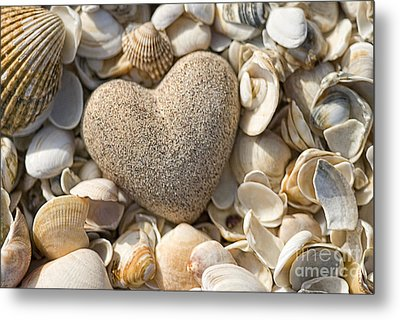 sea shell Heart Metal Print by Boon Mee