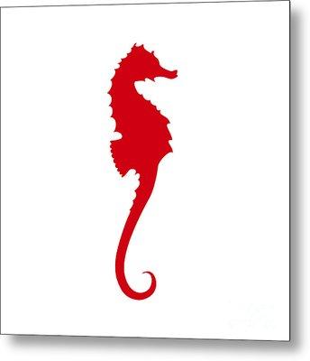 Seahorse In Red Metal Print