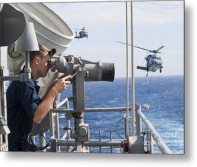 Seaman Apprentice Stands Watch Aboard Metal Print by Stocktrek Images