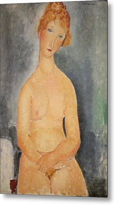 Seated Nude Woman Painting Metal Print by