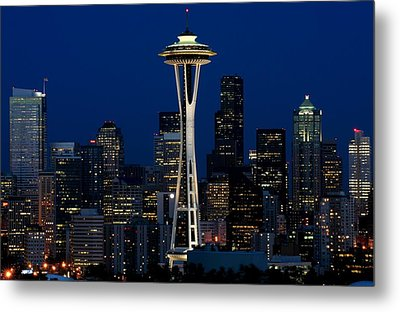 Seattle Skyline At Night Metal Print by Jetson Nguyen