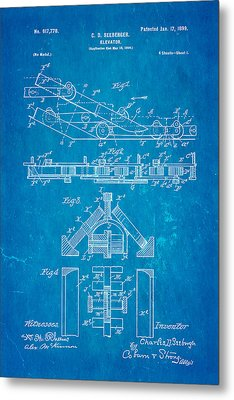 Seeberger Escalator Patent Art 1899 Blueprint Metal Print by Ian Monk