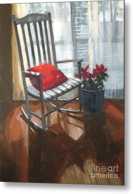 Metal Print featuring the painting Sold - Seeing Red  by Nancy  Parsons