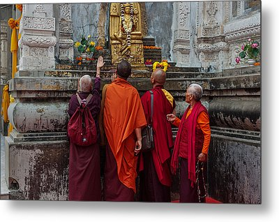 Seeking Blessings Of Budha Metal Print by Mukesh Srivastava