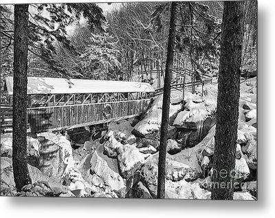 Sentinel Pine Covered Bridge - Franconia Notch State Park New Hampshire Usa Metal Print by Erin Paul Donovan