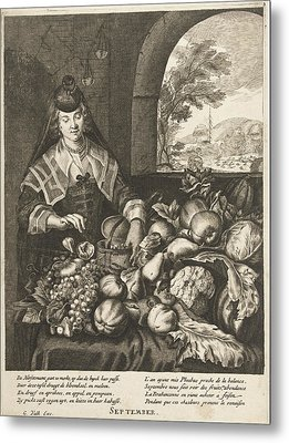 September Represented As Woman At Table Laden With Fruits Metal Print by Cornelis Van Dalen Ii And Anonymous And Joachim Von Sandrart