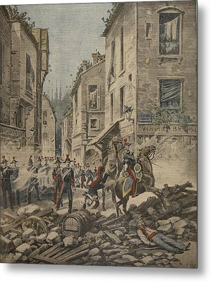 Serious Troubles In Italy Riots Metal Print by French School