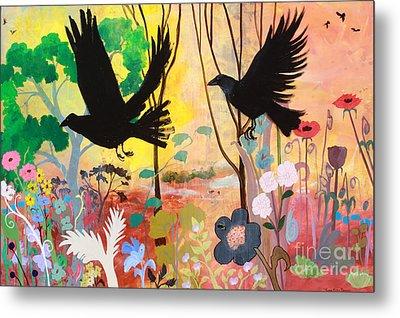 Seven Circling Crows Metal Print by Robin Maria Pedrero
