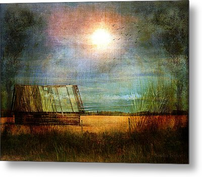Metal Print featuring the photograph Shack On The Prairie Corner  by Sandra Foster