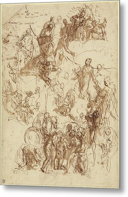 Sheet Of Studies For The Martyrdom Of Saint George Recto Metal Print