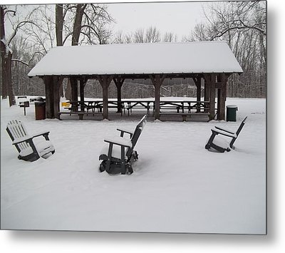 Metal Print featuring the digital art Shelter House Snow by Eric Switzer