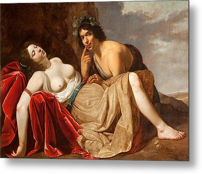 Shepherd And Sleeping Girl, 1623-30 Metal Print by Jan van Bijlert or Bylert