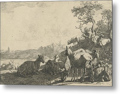 Shepherd With Dog On A Hill, Playing On A Flute Metal Print