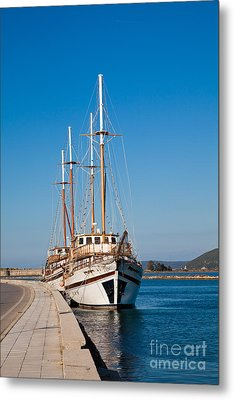 Ships At Lefkada Metal Print by Gabriela Insuratelu