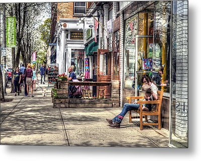 Sidewalk Scene - Great Barrington Metal Print