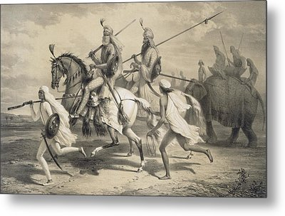 Sikh Chieftans Going Hunting Metal Print by A Soltykoff
