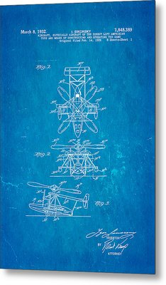 Sikorsky Helicopter Patent Art 1932 Blueprint Metal Print by Ian Monk