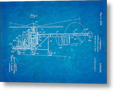 Sikorsky Helicopter Patent Art 1943 Blueprint Metal Print by Ian Monk