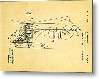 Sikorsky Helicopter Patent Art 1943 Metal Print by Ian Monk