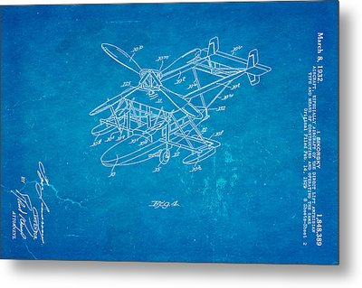 Sikorsky Helicopter Patent Art 2 1932 Blueprint Metal Print by Ian Monk
