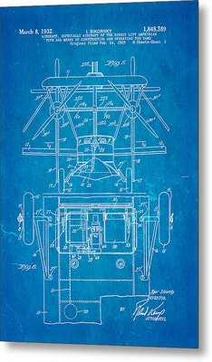 Sikorsky Helicopter Patent Art 3 1932 Blueprint Metal Print by Ian Monk