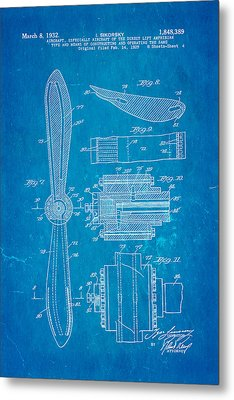 Sikorsky Helicopter Patent Art 4 1932 Blueprint Metal Print by Ian Monk