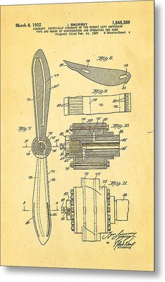 Sikorsky Helicopter Patent Art 4 1932 Metal Print by Ian Monk