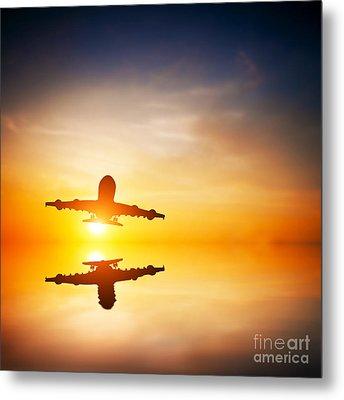 Silhouette Of A Flying Passenger  Metal Print by Michal Bednarek