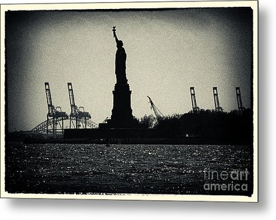 Silhouette Of Miss Liberty Metal Print by Sabine Jacobs