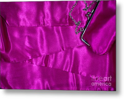 Metal Print featuring the photograph Silk Background With Purse by Gunter Nezhoda