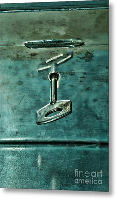 Silver Box With Key In The Lock Metal Print by HD Connelly