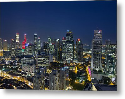 Singapore Cityscape At Blue Hour Metal Print by David Gn