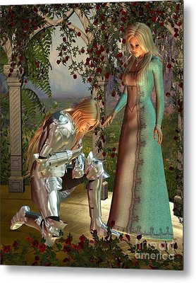 Sir Launcelot And Queen Guinevere Metal Print by Fairy Fantasies