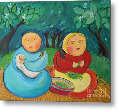 Sisters And Green Beans Metal Print by Teresa Hutto