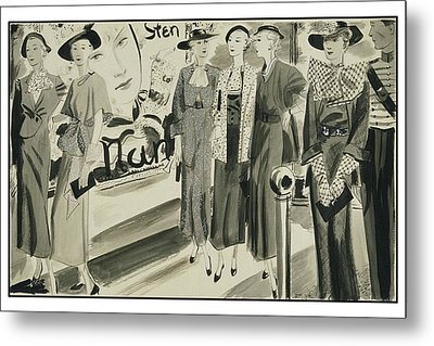 Six Ladies Wearing Summer Clothing Metal Print by Jean Pages