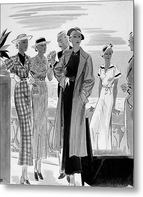Six People Posing On A Terrace Metal Print by William Bolin