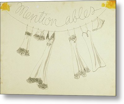 Six Pieces Of Underwear On A String Metal Print by W. Mury
