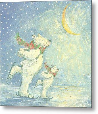 Skating Polar Bears Metal Print by David Cooke