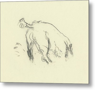 Sketch Of A Dog Digging A Hole Metal Print