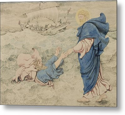 Sketch Of Christ Walking On Water Metal Print by Richard Dadd