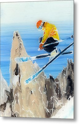 Skiing At Flegere Metal Print by Sara Pendlebury
