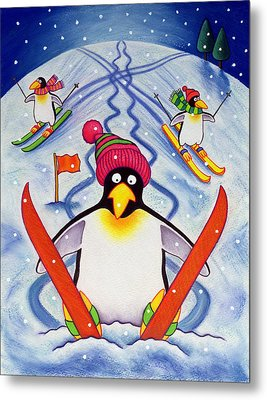 Skiing Holiday Metal Print by Cathy Baxter