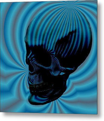 Skull Aura Blue Metal Print by Jason Saunders