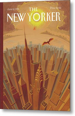 Skyline Of Nyc At Sunset With Icarus Flying Close Metal Print by Eric Drooker