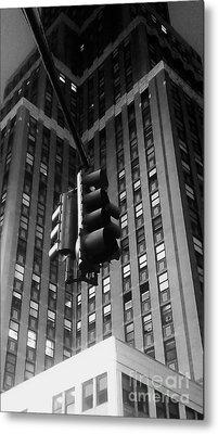 Skyscraper Framed Traffic Light Metal Print