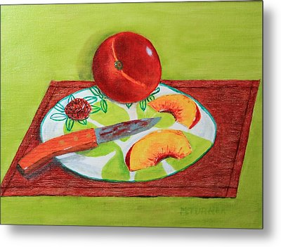 Sliced Peach Metal Print